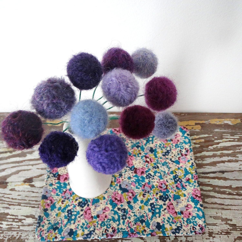 Hydrangea Purple Yarn Pompoms Amethyst Gift Purple Felt flowers Lilac Lavender Wool Pom Pom Flowers Faux flower bouquet