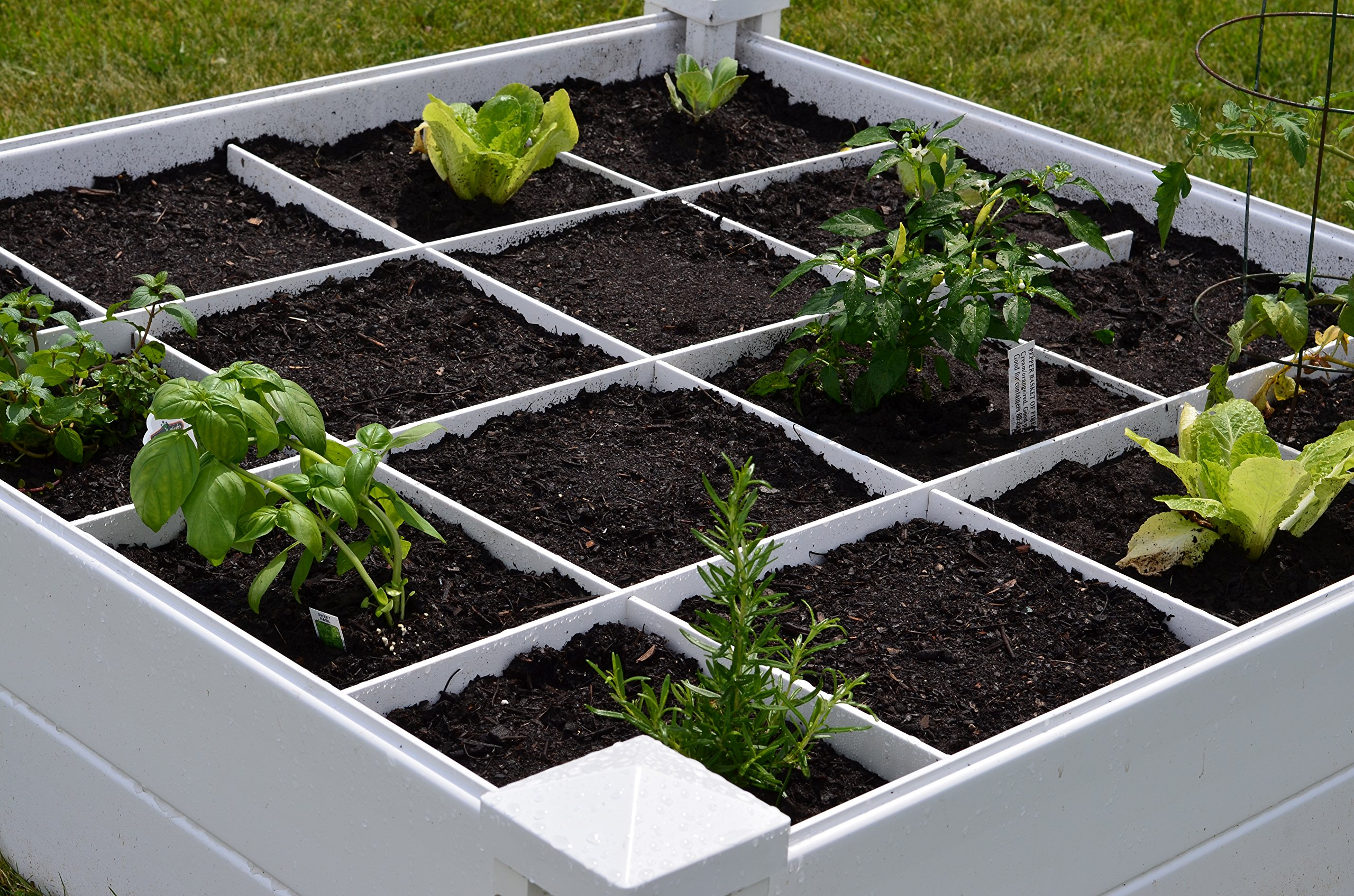 """Vita Gardens VT17104 Vita Bed with GRO 48in x 7.5in Garden with Grid, 7.38"""" H, White 2 Available in classic white Can combine more than one unit Grid system increases yield because plants can be planted closer together"""