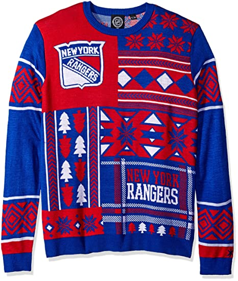Amazon.com   New York Rangers Patches Ugly Crew Neck Sweater Double ... 0c0235b5318