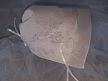 Amazon.com: Blanco bordado de flor recuerdo pañuelo bebé ...