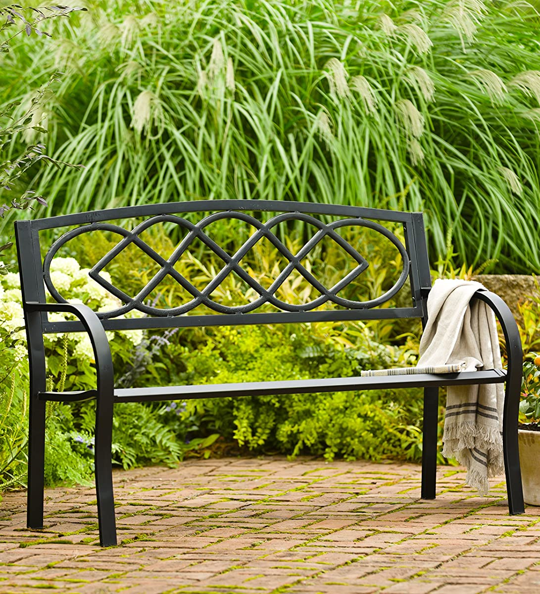 Celtic Knot Patio Garden Bench Park Yard Outdoor Furniture, Cast and Tubular Iron Metal, Powder Coat Black Finish, Classic Decorative Design, Easy Assembly 50 L x 17 1/2 W x 34 1/2 H