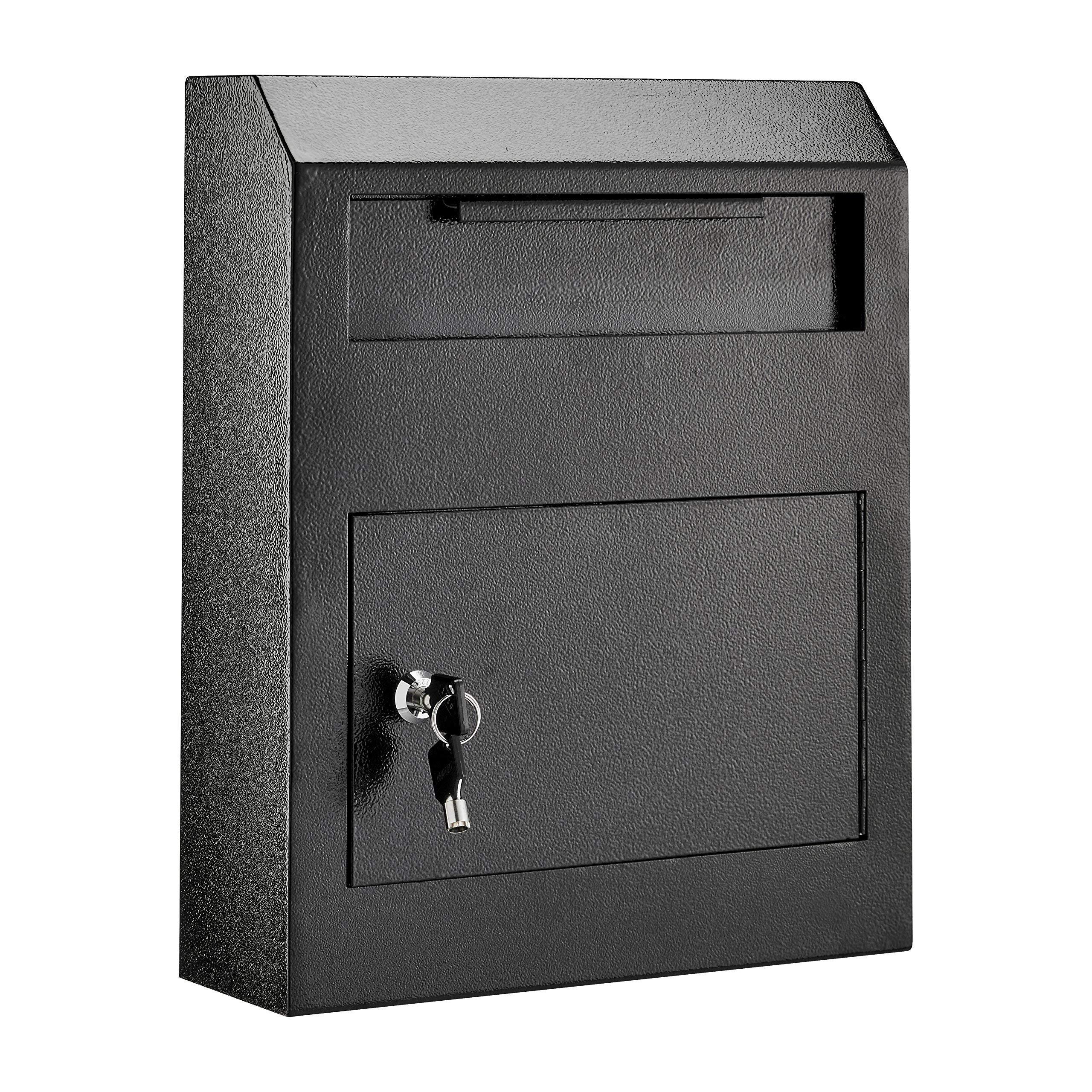 AdirOffice Heavy Duty Secured Safe Drop Box (Black) by AdirOffice