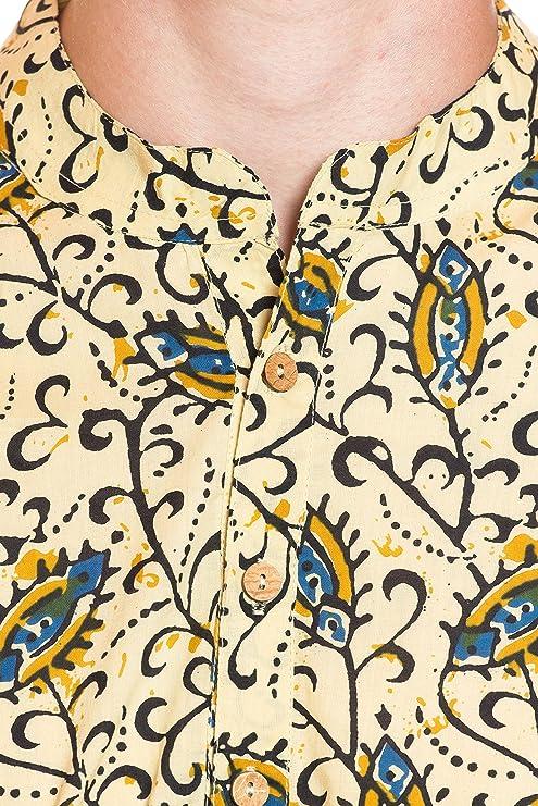ufash Camisa Kurta de la India, estampado tradicional a mano - 100% algodón - muchos tallas y diseños diferentes: Amazon.es: Ropa y accesorios