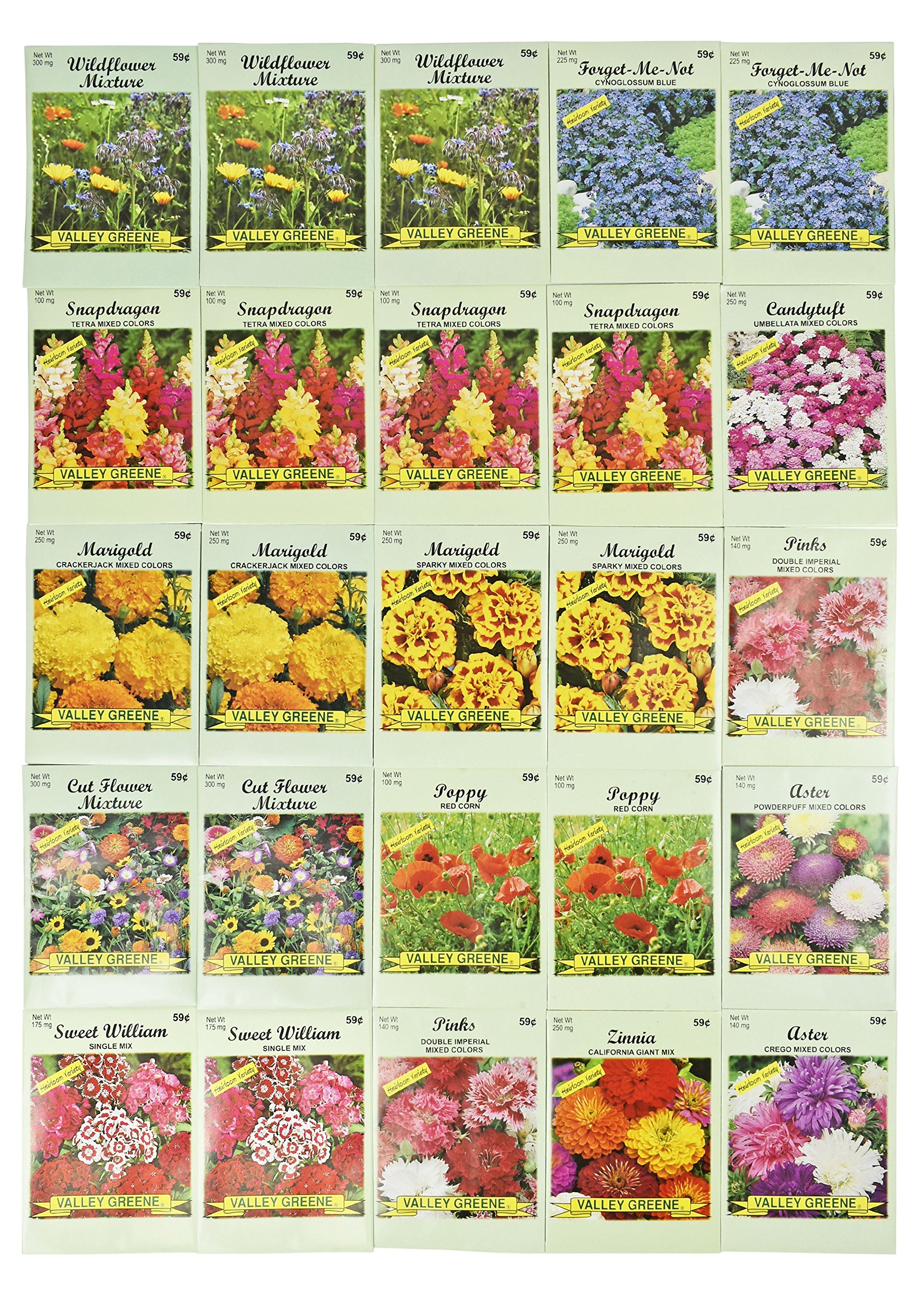 Set of 25 Valley Green Flower Seed Packets Including 10 Or More Varieties Forget Me Nots, Pinks, Marigolds, Zinnia, Wildflower, Poppy, Snapdragon and More