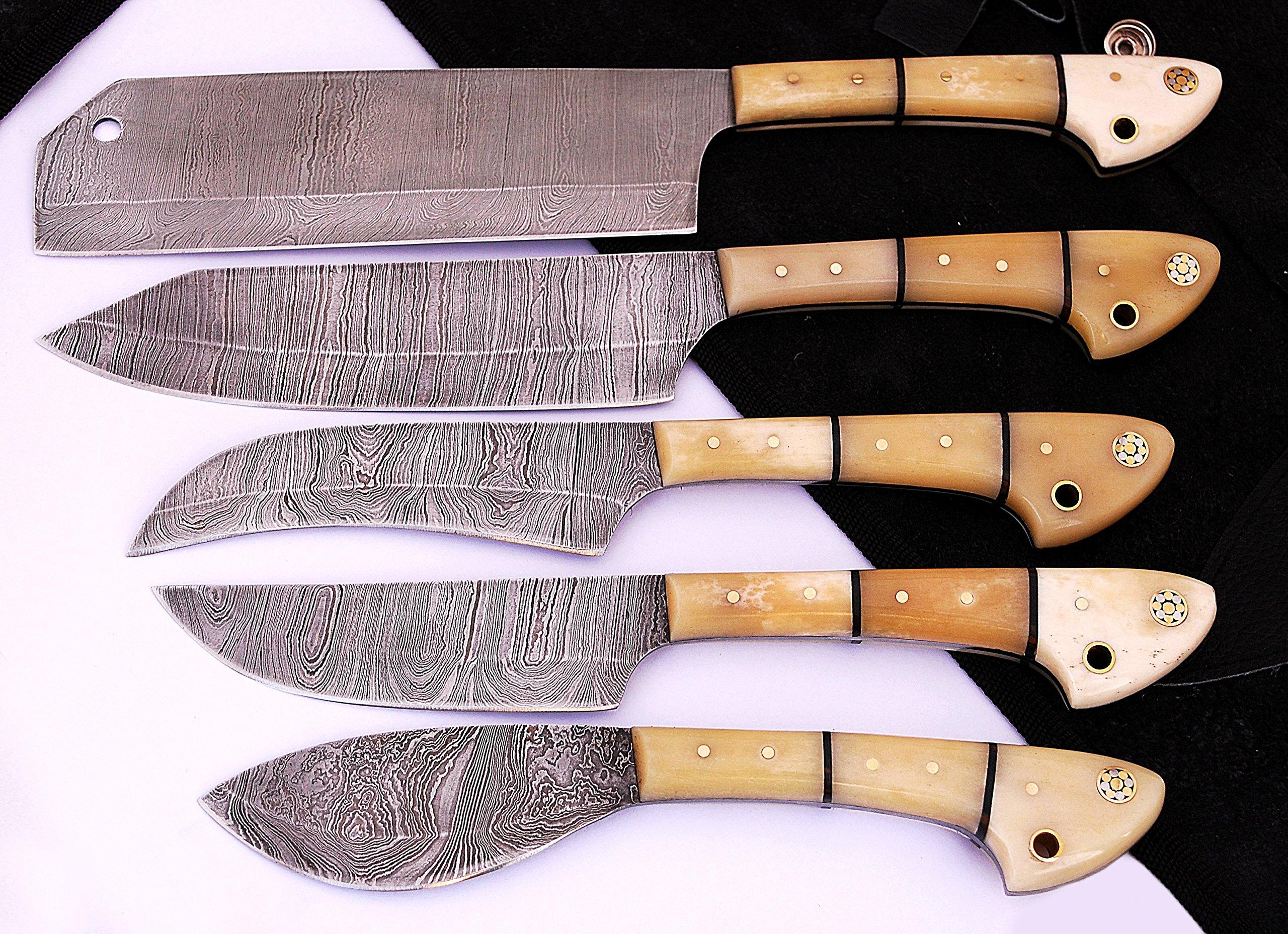 1033BW Custom Made Damascus Steel 5 pcs Professional Kitchen Chef Knife Set with 5 Pocket Case Chef Knife Roll Bag by GladiatorsGuild (Bone White)