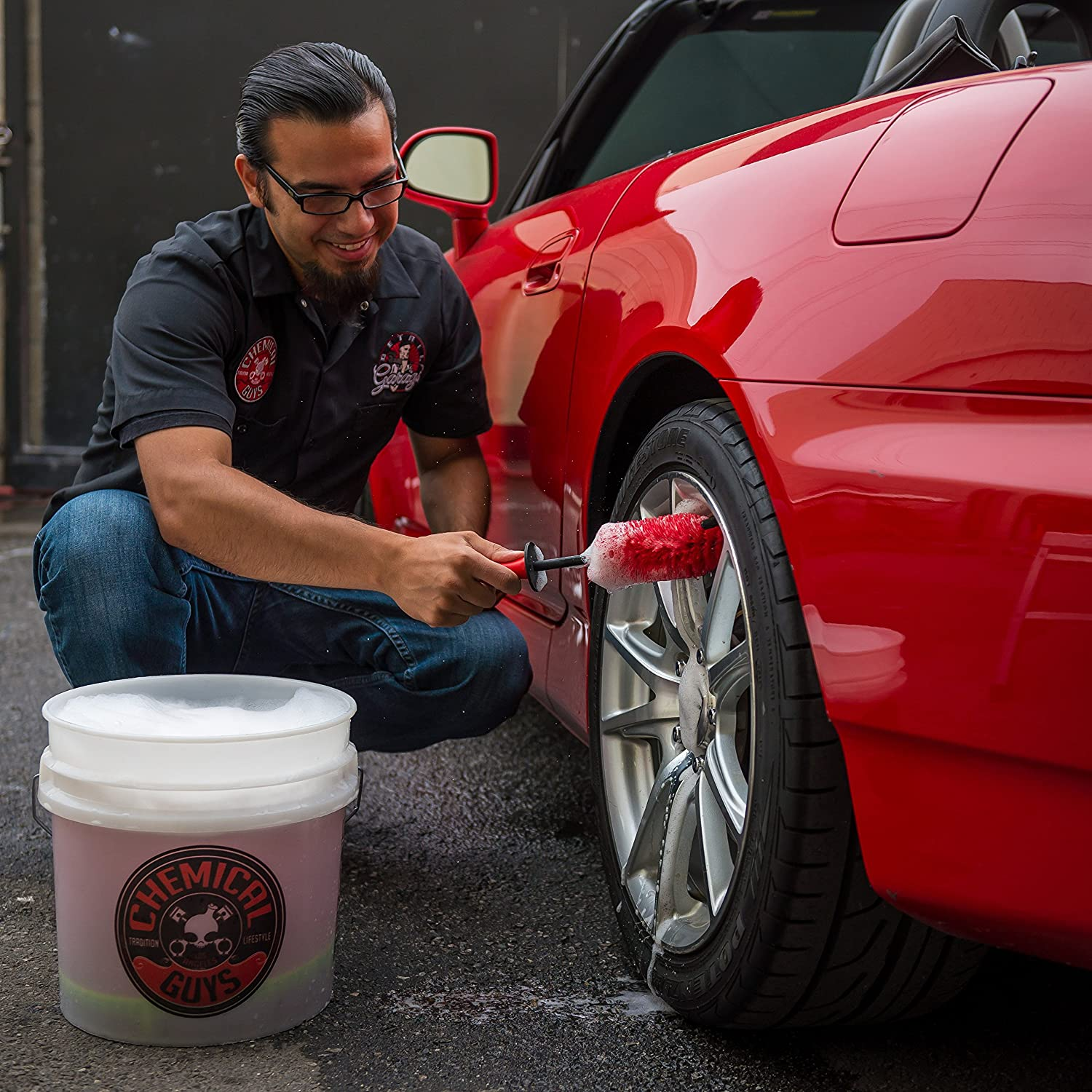Chemical Guys Acc607 Little Red Rocket Detailing Pinsel 1 Pack Auto