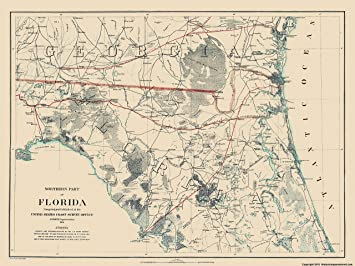 Northern Florida Map.Amazon Com Civil War Map Print Northern Florida Bache 1864 23