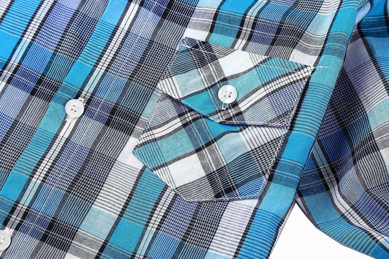 Bienzoe Boys Cotton Plaid Roll Up Sleeve Casual Shirts