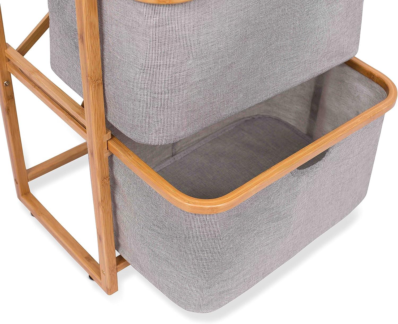 Clothes Towel Sheets Chest Natural Wood Shelf with Three Bins Laundry Basket BIRDROCK HOME 3 Drawer Bamboo Storage Dresser Organizer Closet Bedroom Bathroom Home Organization