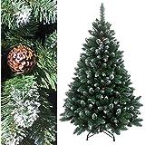 RS Trade® 240 cm ca. 1815 Spitzen, Exklusiver dekorierter künstlicher Weihnachtsbaum mit Metallständer, beschneiten Spitzen und Tannenzapfen Deko, Farbe Natur-Schnee HXT 15013