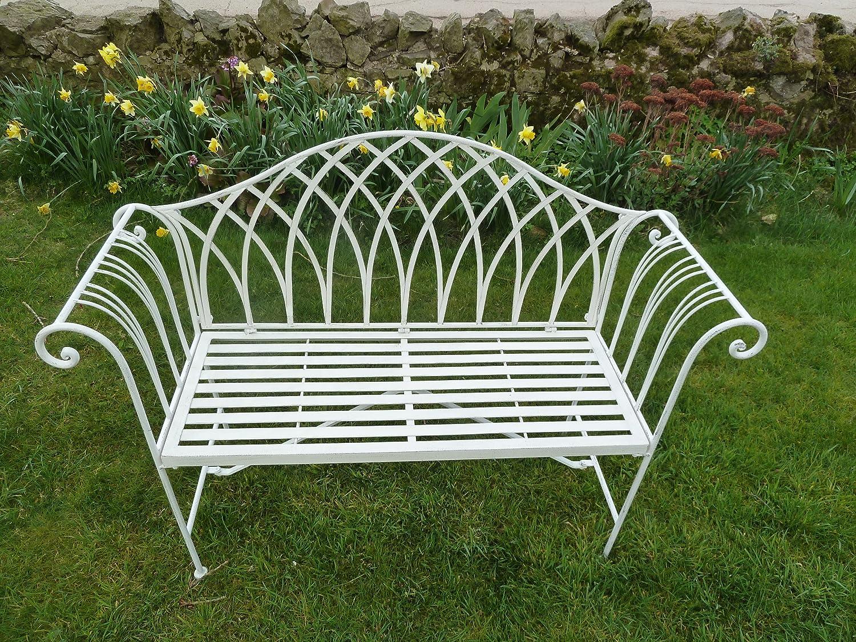 UK Gardens Metal 2 Seater Garden Bench   White Ornate 4ft Garden Bench  Garden Furniture   Hardwearing And Weather Resistant: Amazon.co.uk: Garden  U0026 Outdoors