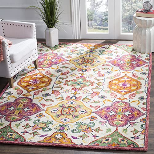 Safavieh Blossom Collection Floral Vines Premium Wool Area Rug, 3 x 5 , Ivory Multicolored