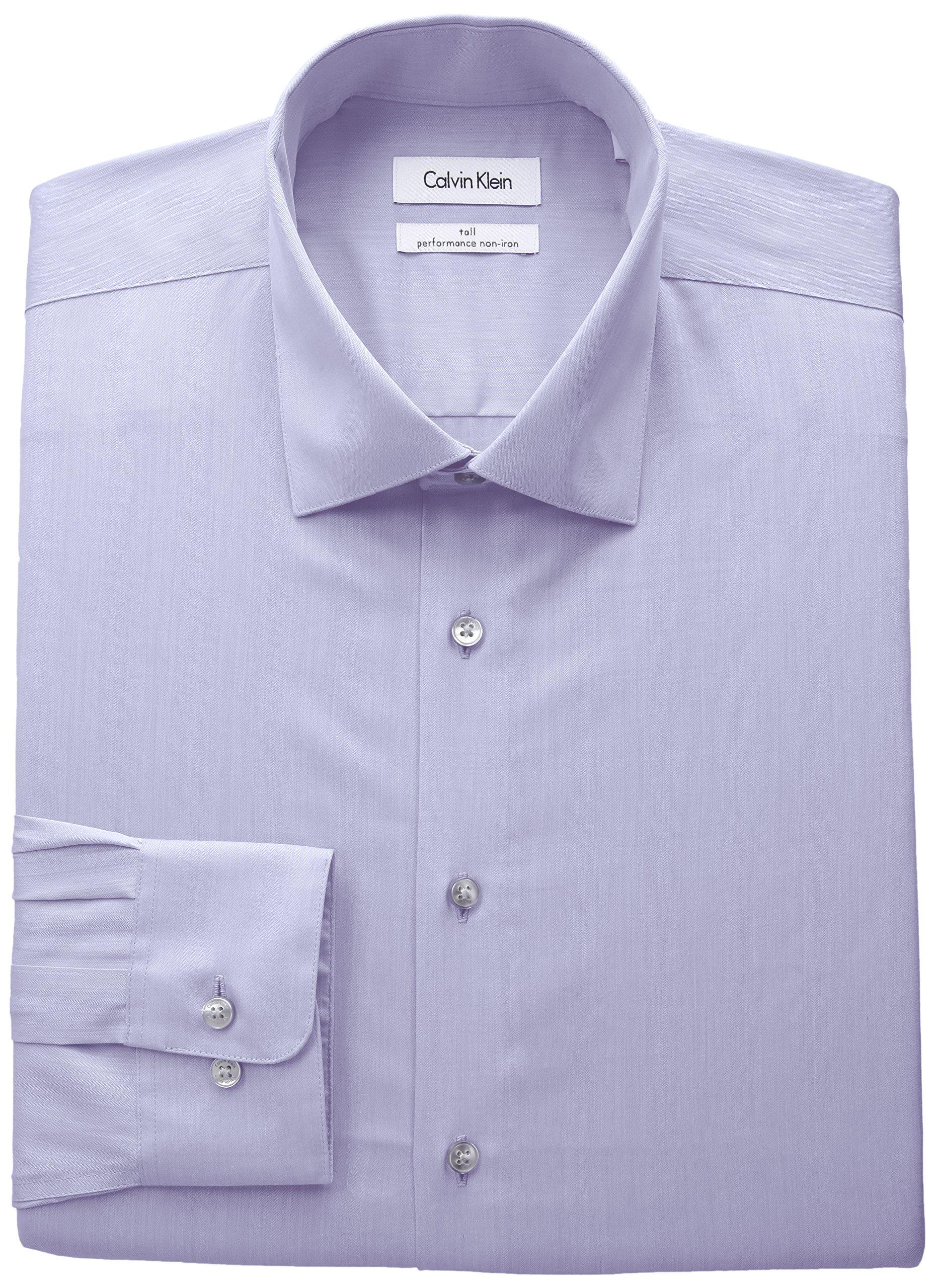 Calvin Klein Men's Big and Tall Non Iron Fit Herringbone Spread Collar Dress Shirt, Lilac, 18.5'' Neck 37''-38'' Sleeve