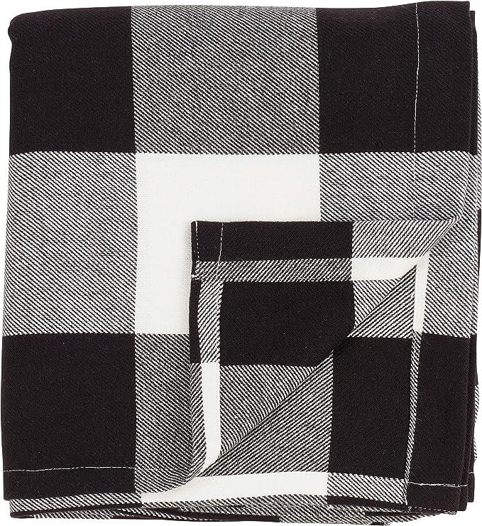 Black 6 x 14 SARO LIFESTYLE Birmingham Collection Cotton Wine Gift Bag with Buffalo Plaid Design Set of 2