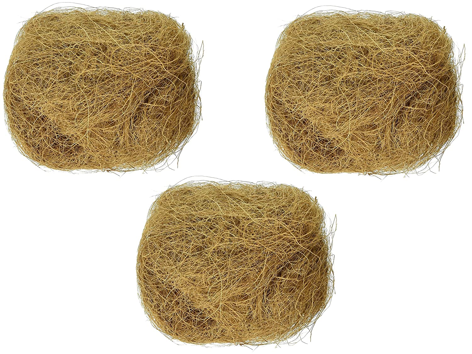 (3 Pack) Prevue Pet Products Sterilized Natural Coconut Fiber for Bird Nest