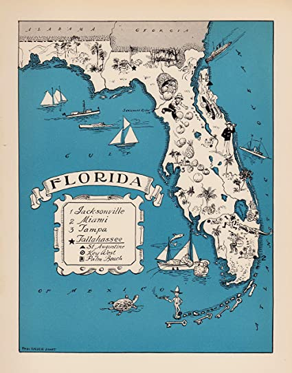 Tampa Florida Map State.Amazon Com Vintage Animated Florida State Map 1930s Blue Cartoon