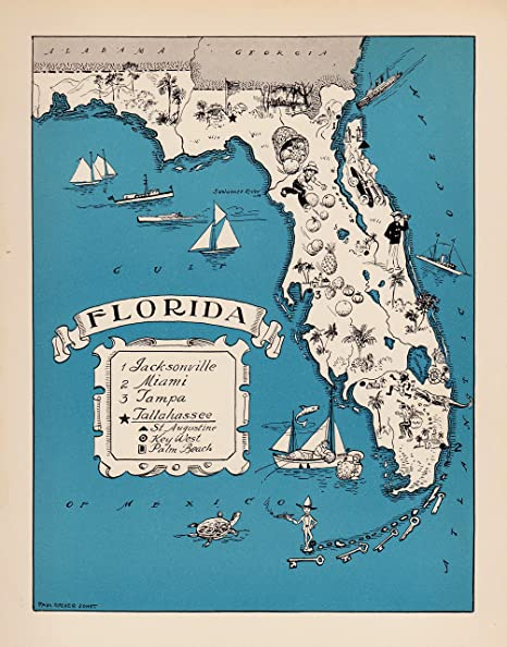 Picture Map Of Florida.Amazon Com Vintage Animated Florida State Map 1930s Blue