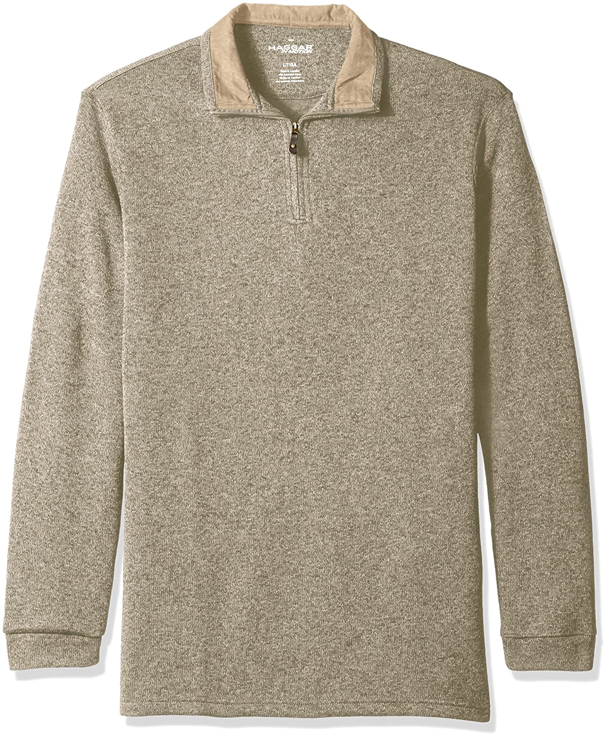 Haggar Men's Long Sleeve Big-Tall in-Motion Soft Brushed Back Tweed Quarter Zip Sweater Haggar Men's Tops 555023X