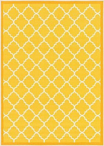 Well Woven Kings Court Brooklyn Trellis Modern Gold Geometric Lattice 5' x 7' Indoor/Outdoor Area Rug