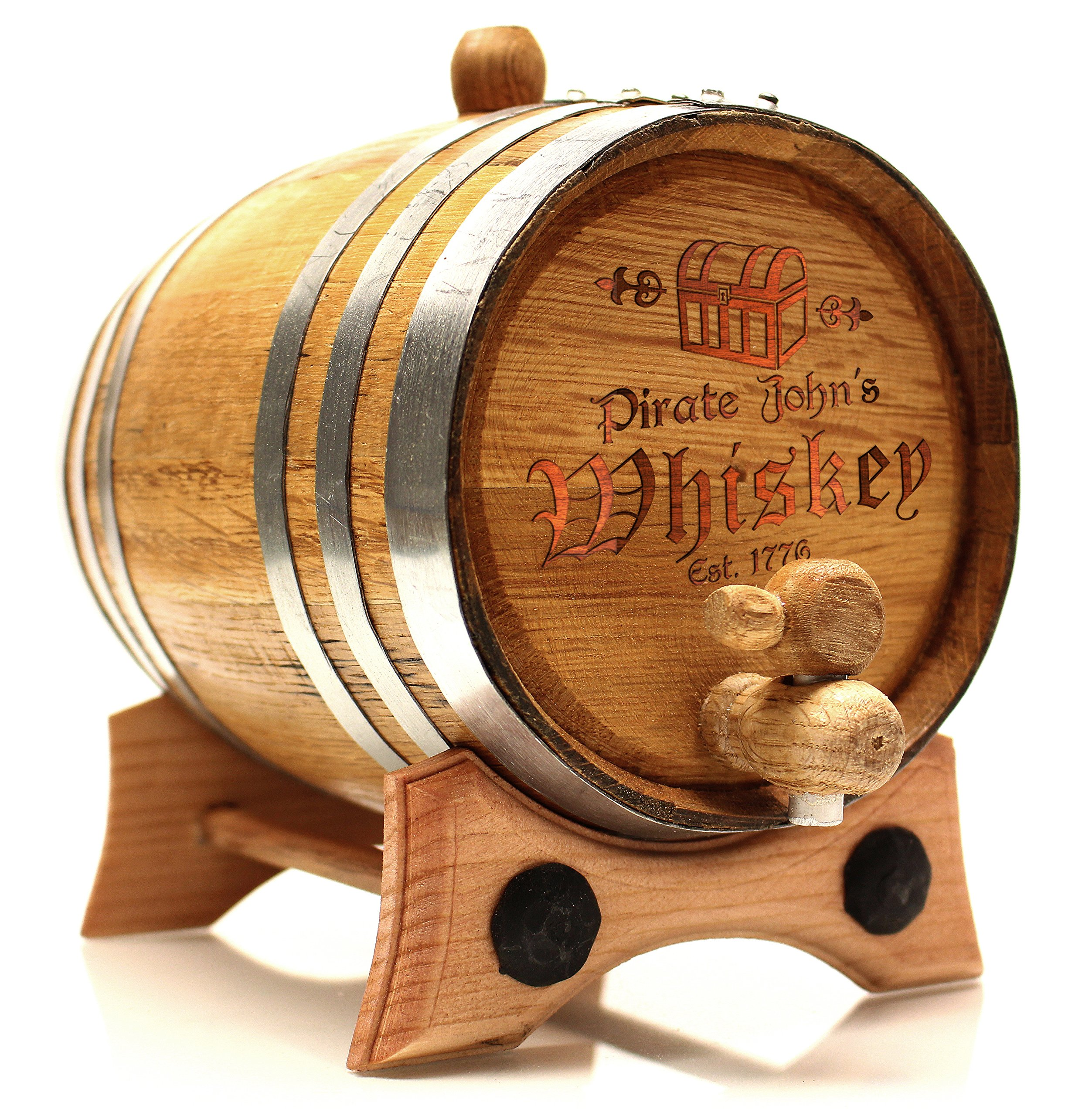 2 Liter Custom Engraved Pirate Golden Oak Barrel - Polished Steel Hoops | 30 page Aging Guide | Paper Funnel | No Leaks Guarantee