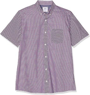 Burton Menswear London Short Sleeve House Check Shirt Camisa, Rojo (Red 010), 17 (Talla del Fabricante: Large) para Hombre: Amazon.es: Ropa y accesorios