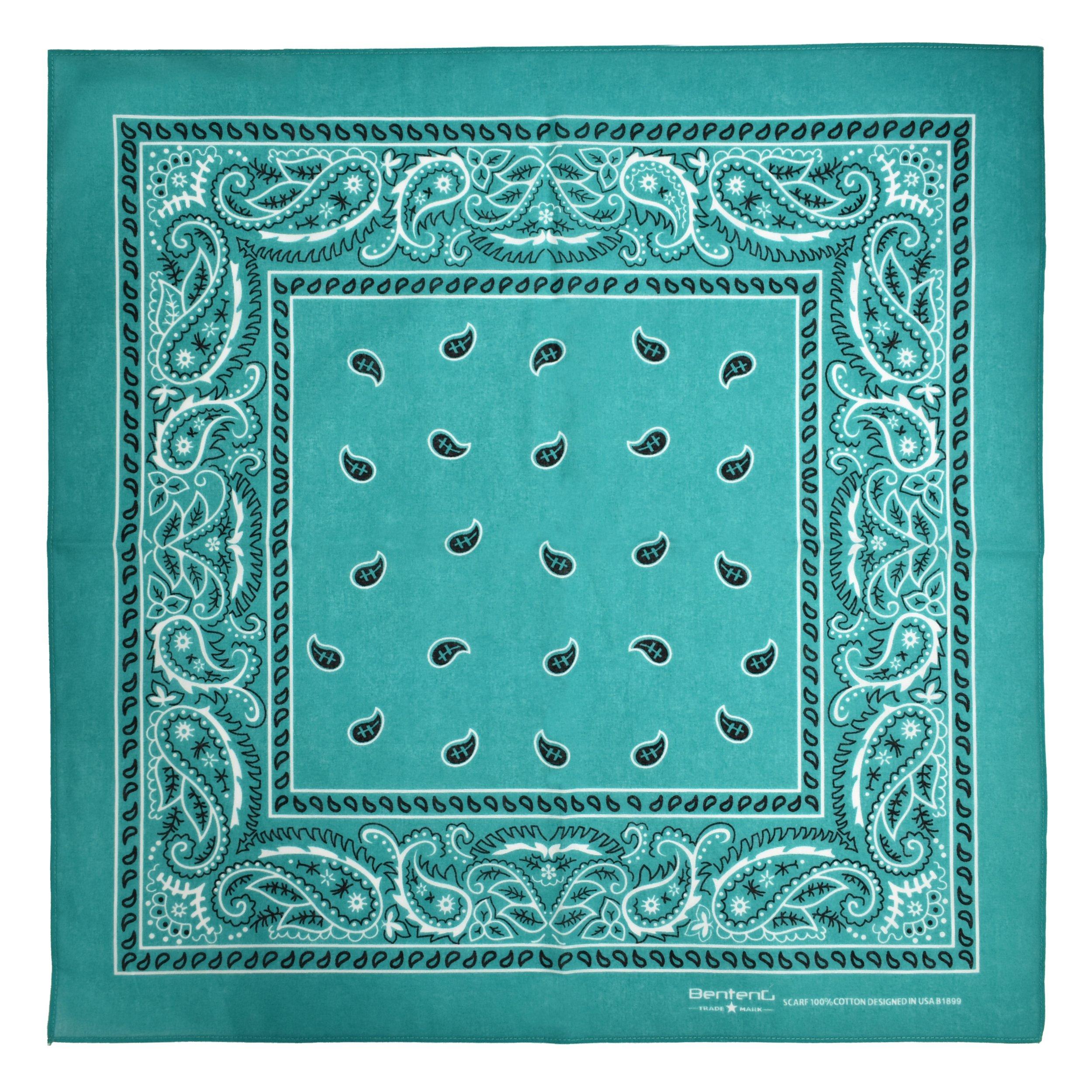 Bandana, 12 Pack 100% Cotton Bandanas for Women Men with Paisley, Flags & More (Cyan)
