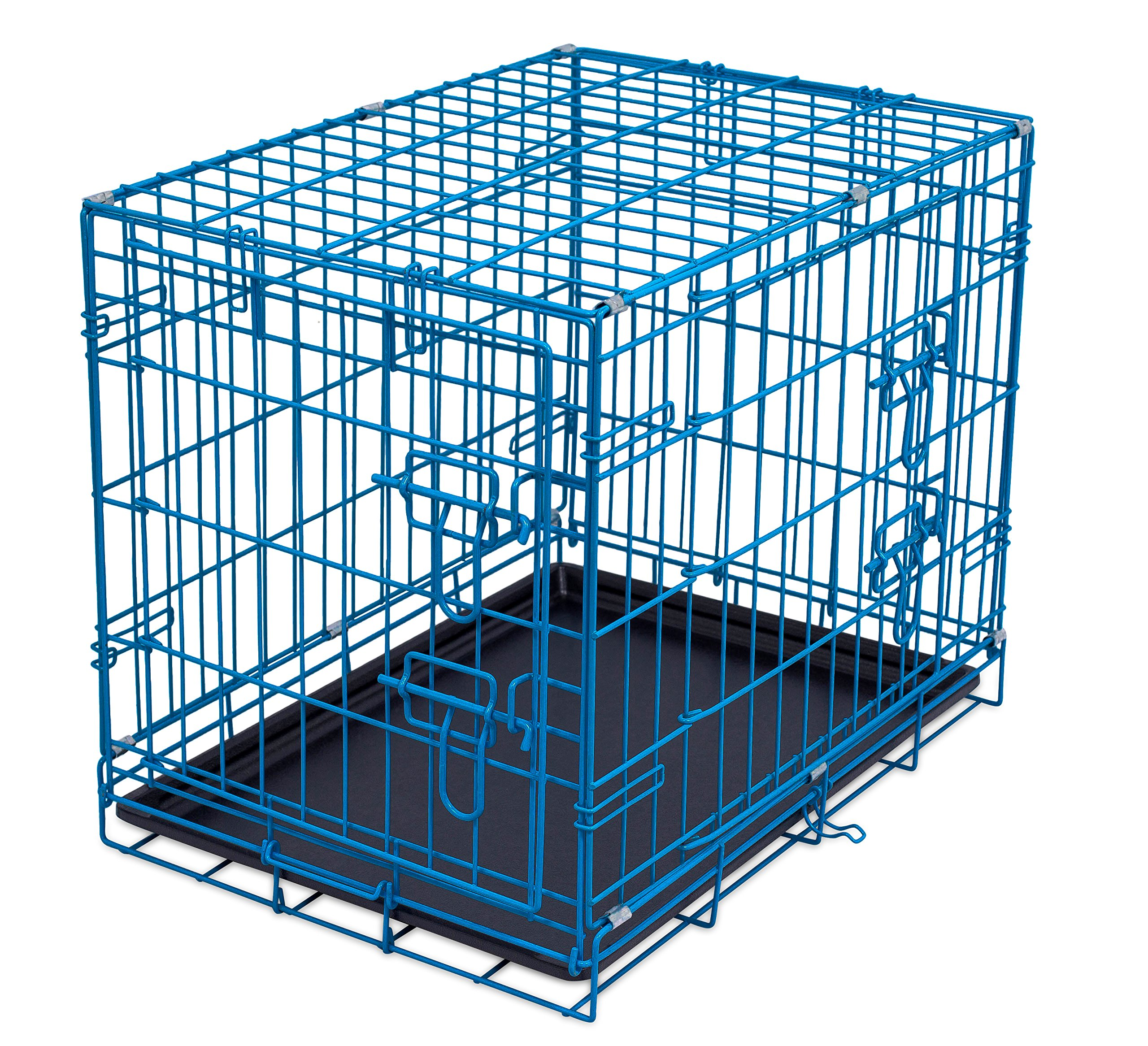Internet's Best Double Door Steel Crates Collapsible and Foldable Wire Dog Kennel, 24 Inch (Small), Blue by Internet's Best (Image #1)