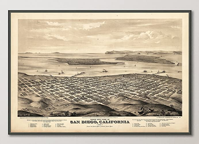 Vintage San Diego Map.Amazon Com Vintage San Diego California Birds Eye View Map