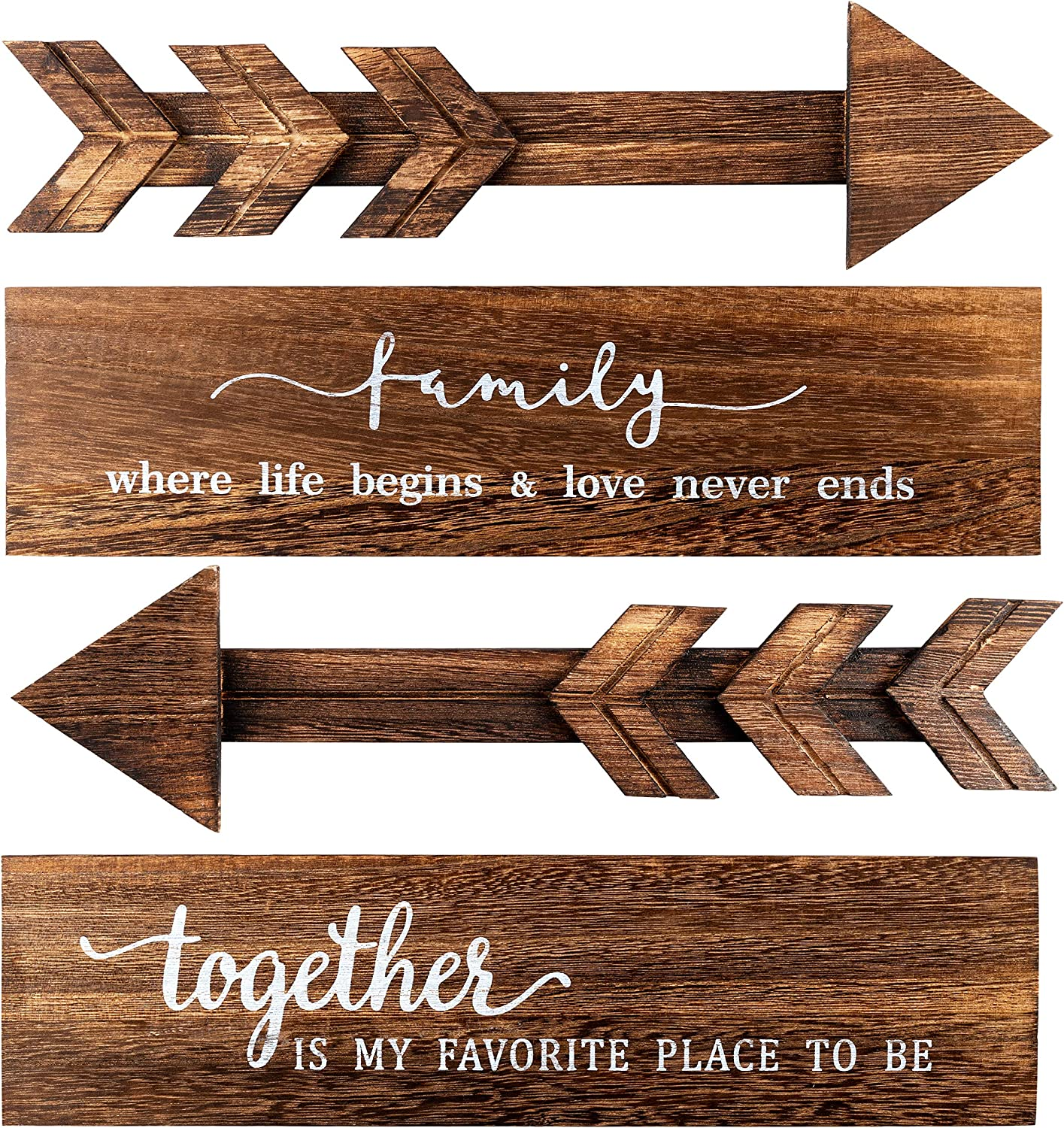 4 Pcs Rustic Wood Arrow Sign Wall Decor Family Together Wooden Wall Sign Wooden Arrow Hanging Signs Printed Wooden Sign Rustic Background Wall Decor Farmhouse Entryway Porch Signs, 15 x 4 x 0.2 inch