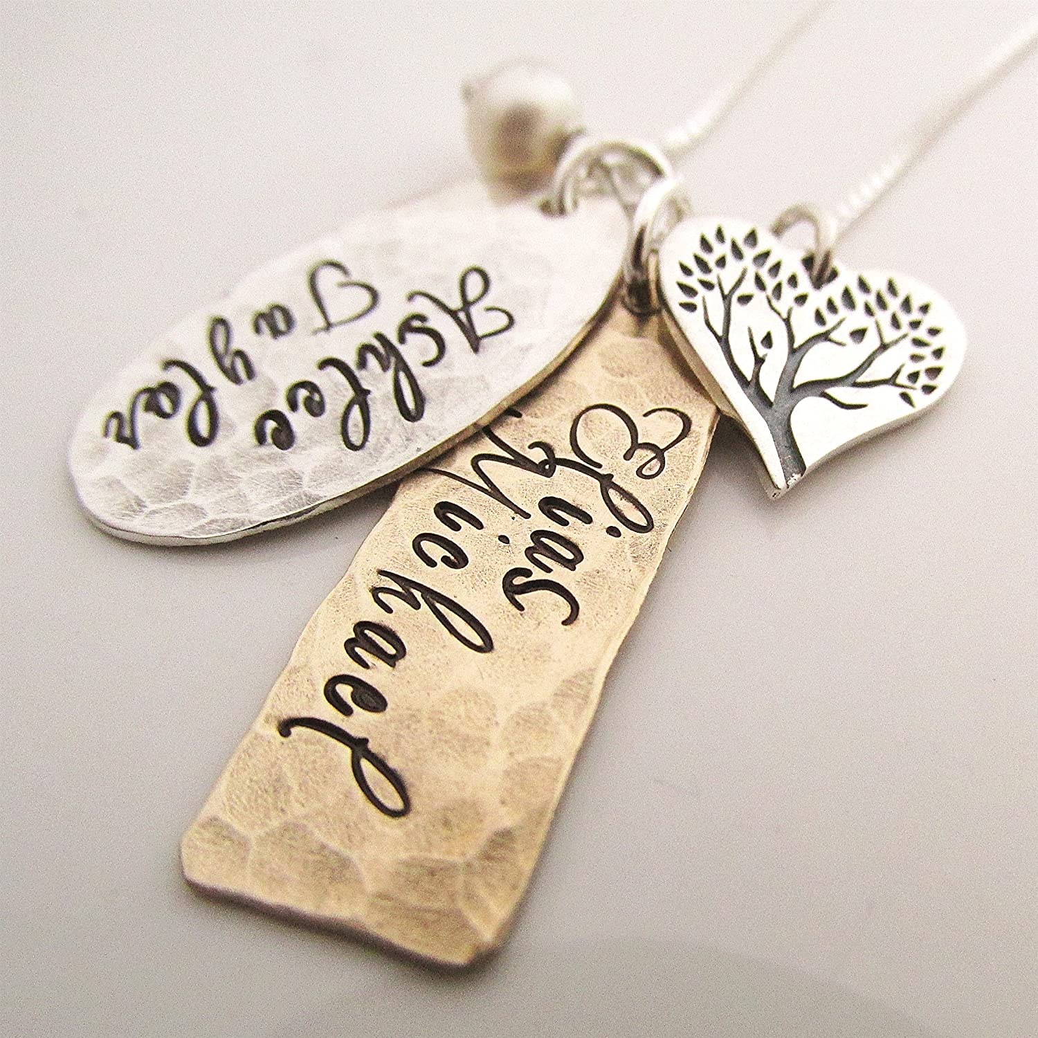 Family Necklace Name Jewelry Personalized Jewelry Hand Stamped Necklace Mommy Necklace Retro Mid-Century Family Name Necklace