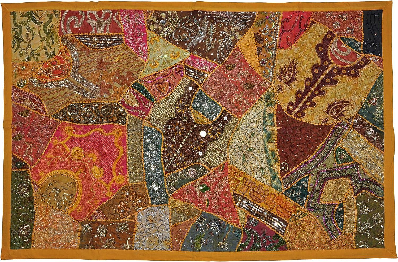 "60/"" HUGE HEAVILY BEADED ART DÉCOR VINTAGE SARI ZARI WALL HANGING TAPESTRY INDIAN"