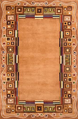 Momeni Rugs New Wave Collection, 100 Wool Hand Carved Tufted Contemporary Area Rug, 9 6 x 13 6 , Gold