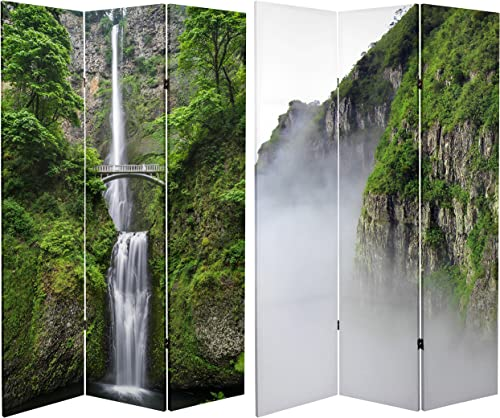 ORIENTAL Furniture Tall Double Sided Mountaintop Waterfall Canvas Room Divider, 6 32