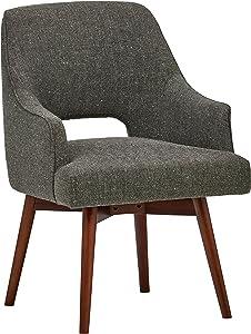 """Rivet Mid-Century Open Back Swivel Office Desk Chair, 24""""W, Marble"""