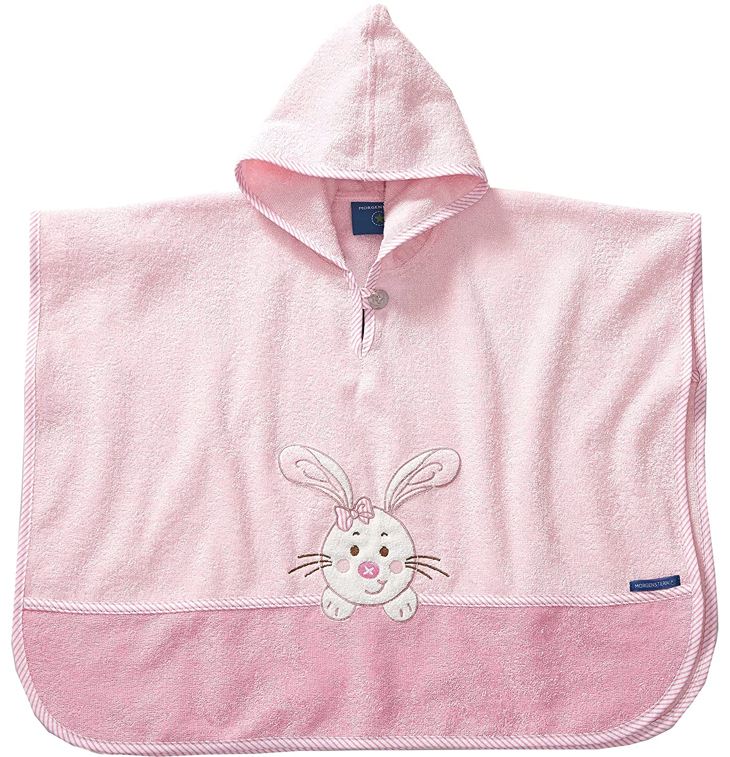 Morgenstern High Quality Childrens Hooded Poncho for Baby ,Toddler, Kids, Bath Beach Towel 1 - 3 yrs. Colour Pink, Bunny Embroidery 8825-09
