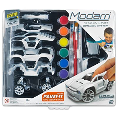 Modarri Delux Paint It Auto Design Studio | Paint and Build Your own Toy Car | Creative STEM and Art Craft Kit | Includes Paints and Brushes | Make Model Cars | Girls and Boys Gifts Age 5-10: Toys & Games