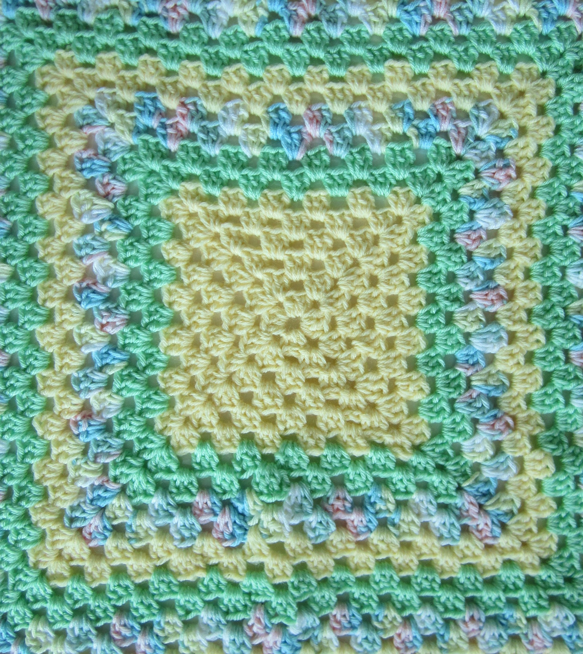Crocheted Yellow and Green Granny Square Baby Blanket