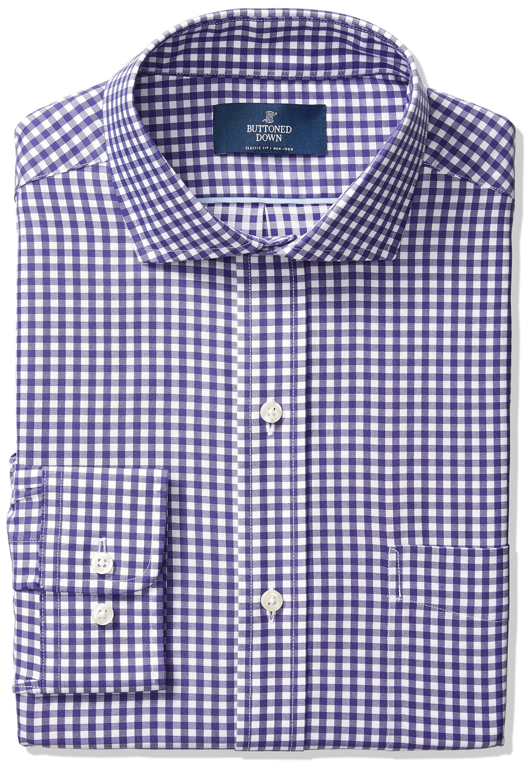 Buttoned Down Men's Classic Fit Cutaway-Collar Non-Iron Dress Shirt, Medium Purple Gingham, 17.5'' Neck 33'' Sleeve