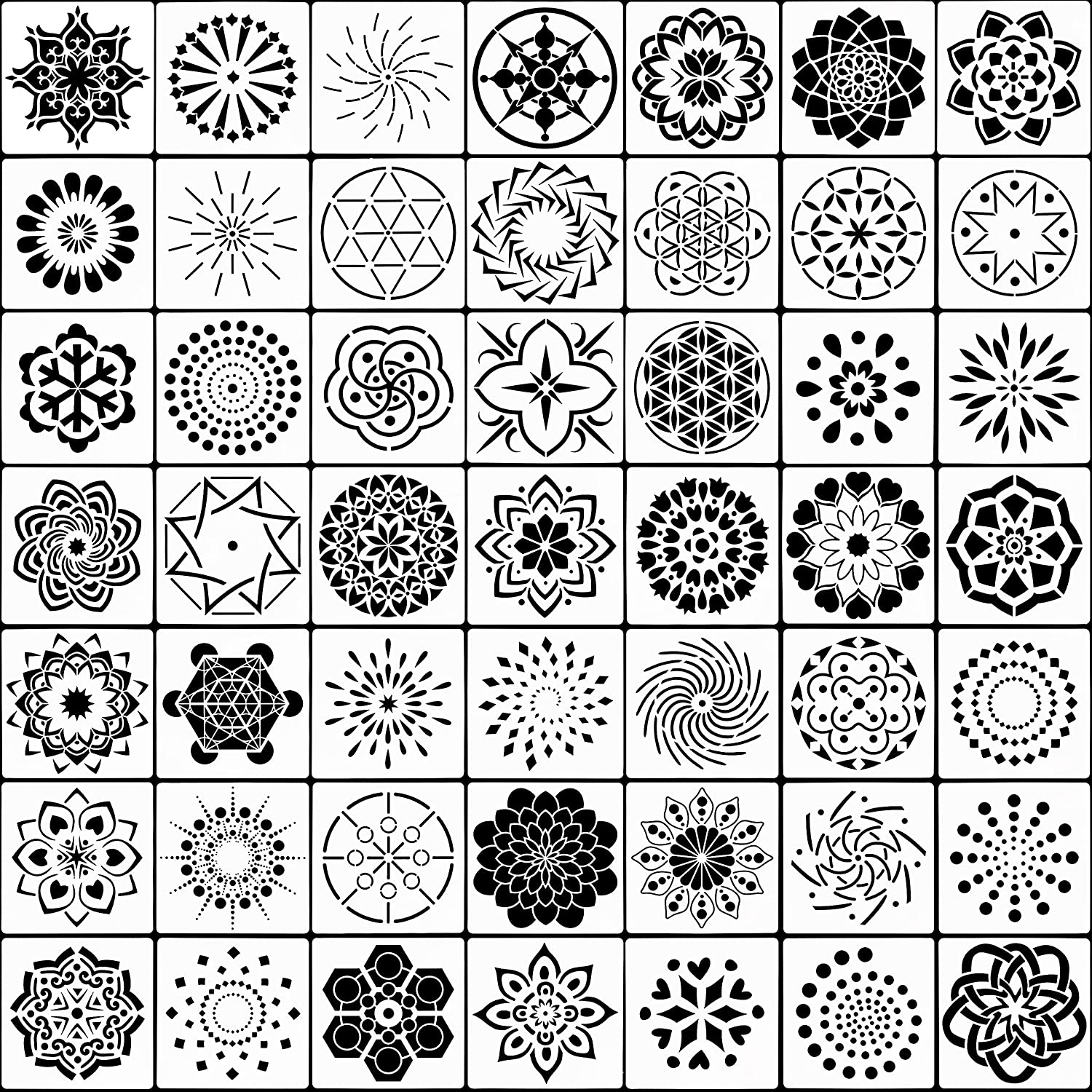 Metal and Walls Art Glass Fabic 3.5x3.5inch SUBANG 50 Pack Mandala Dot Painting Templates Stencils for Painting on Wood