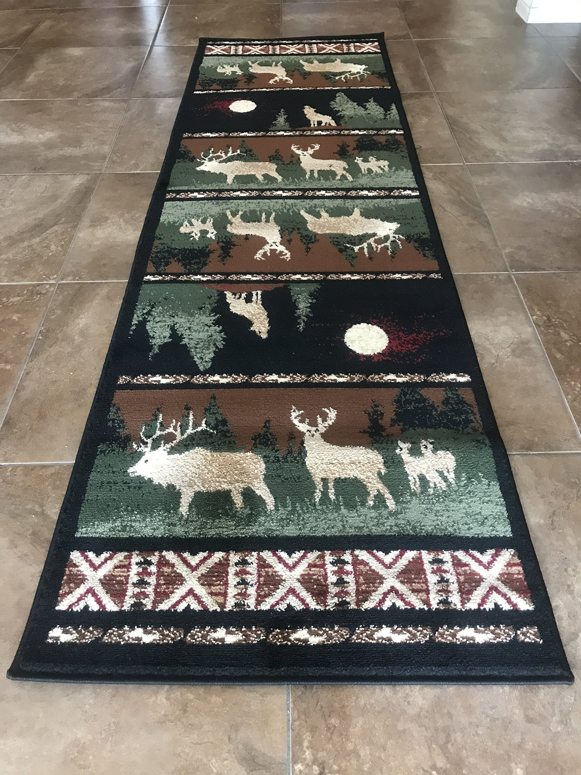Carpet King Cabin Style Runner Area Rug Country Lodge Elk Deer Wildlife Design 382 (2 Feet 2 Inch X 7 Feet 2 Inch)