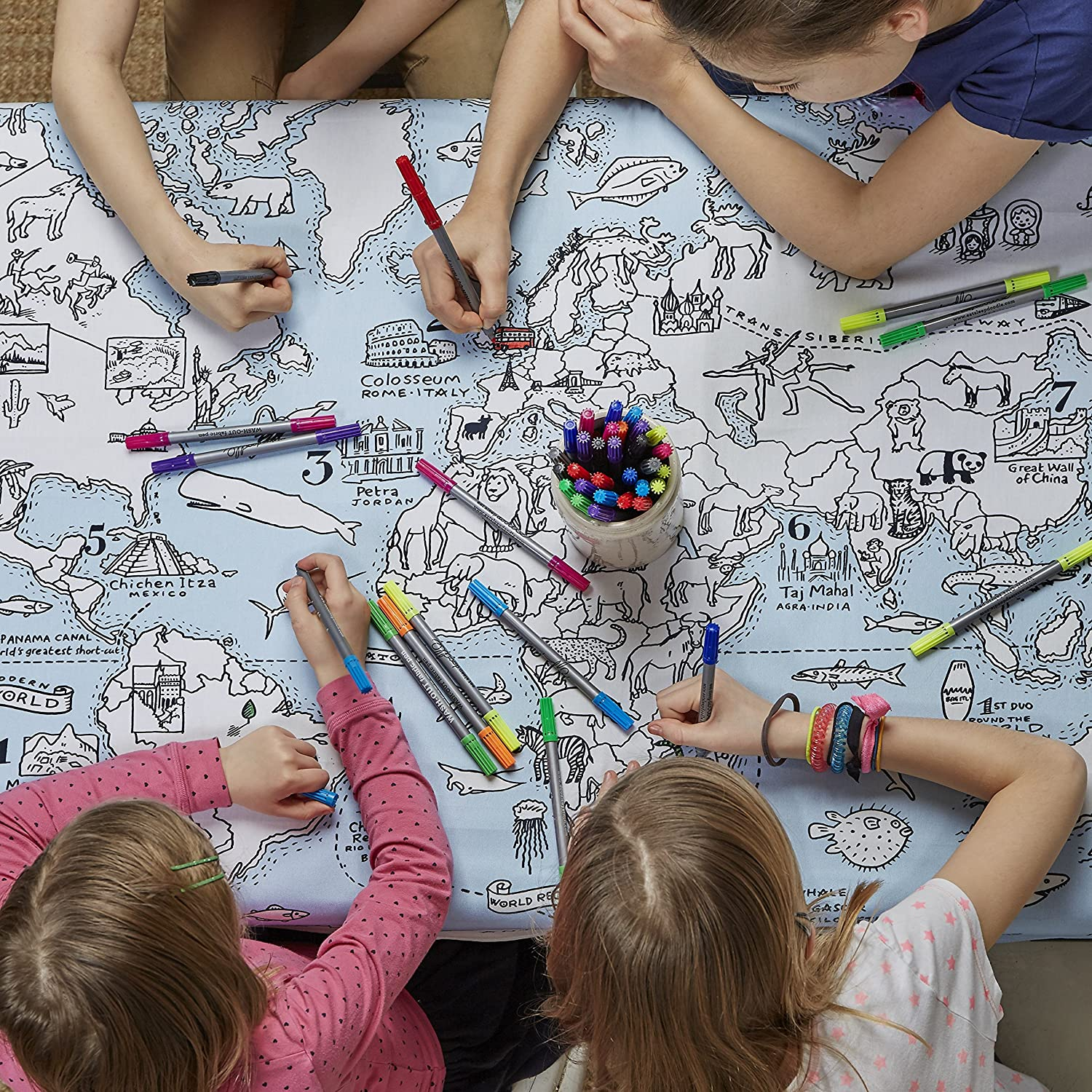 Doodle World Map Tablecloth
