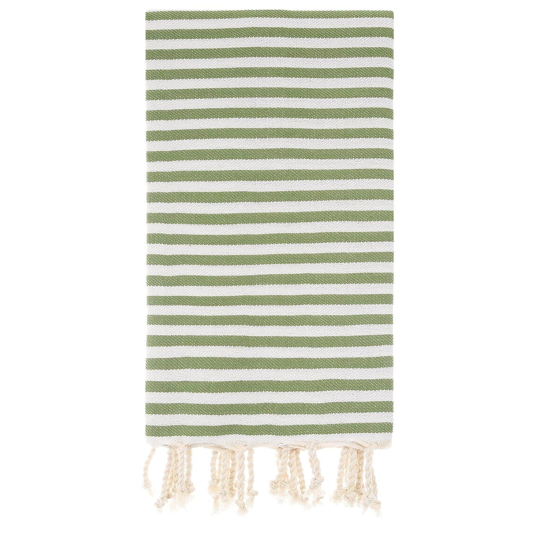 Cacala Zebraシリーズ – Turkish Bath Towels – Traditional Peshtemalデザインのバスルーム、ビーチ、サウナ – 100 %天然コットン、ウルトラソフト、速乾性、 グリーン B073P8L1N1 グリーン