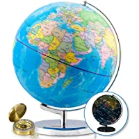 32 cm Illuminated World Globe & Compass by GetLifeBasics: See The Earth and The Stars in Details. Large Constellation View Night, Kids Educational Interactive Astronomy & Political Map