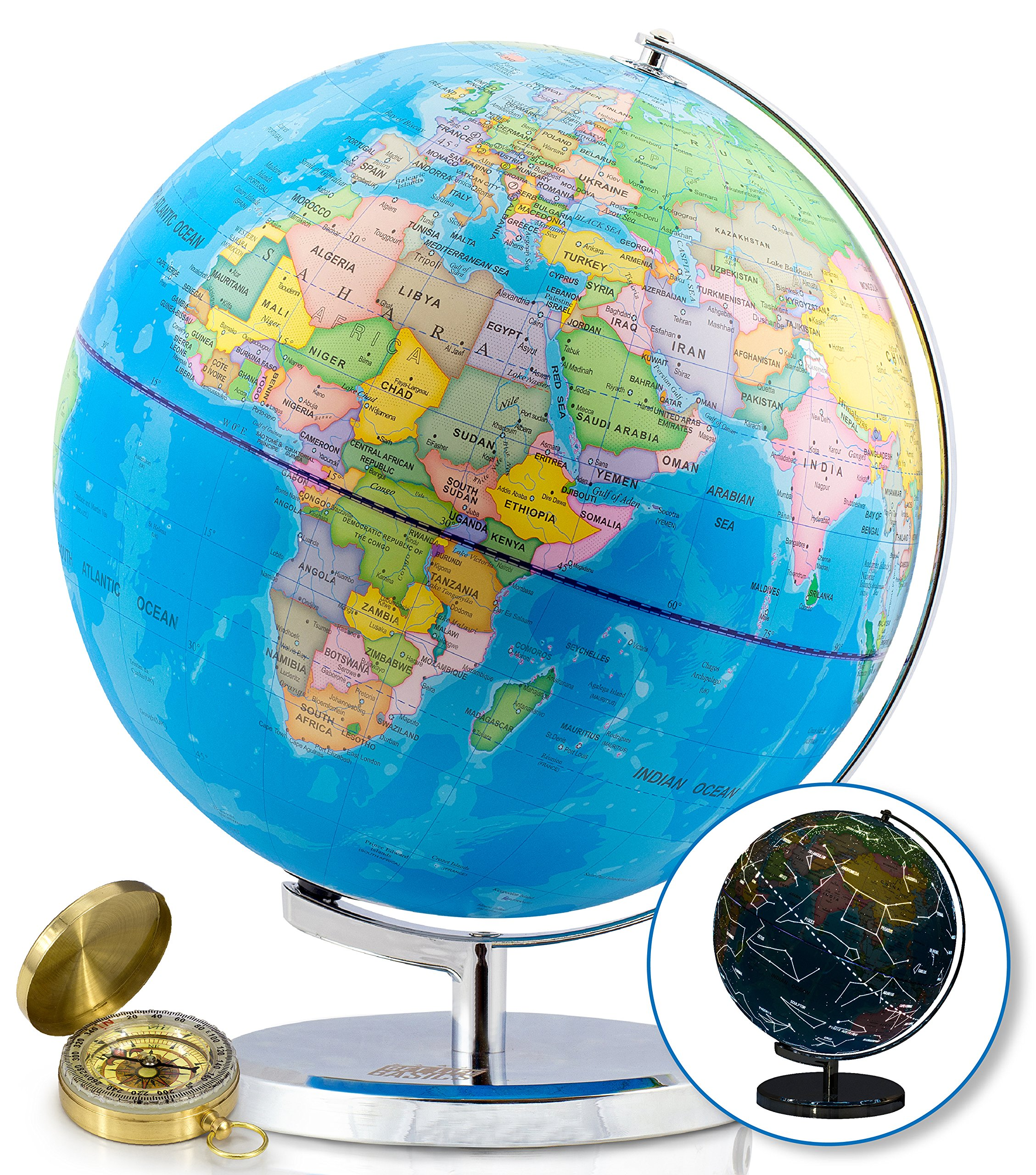 World Globe with Illuminated Constellations - 13'' Light Up Globe For Kids & Adults - Interactive Earth Globe Makes Great Educational Toys, Office Supplies, Teacher Desk Décor, More by Get Life Basics