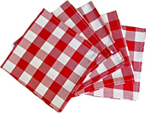 5 Pack Checkered Gingham Polyester Napkins 15 x 15 Inches Red and White
