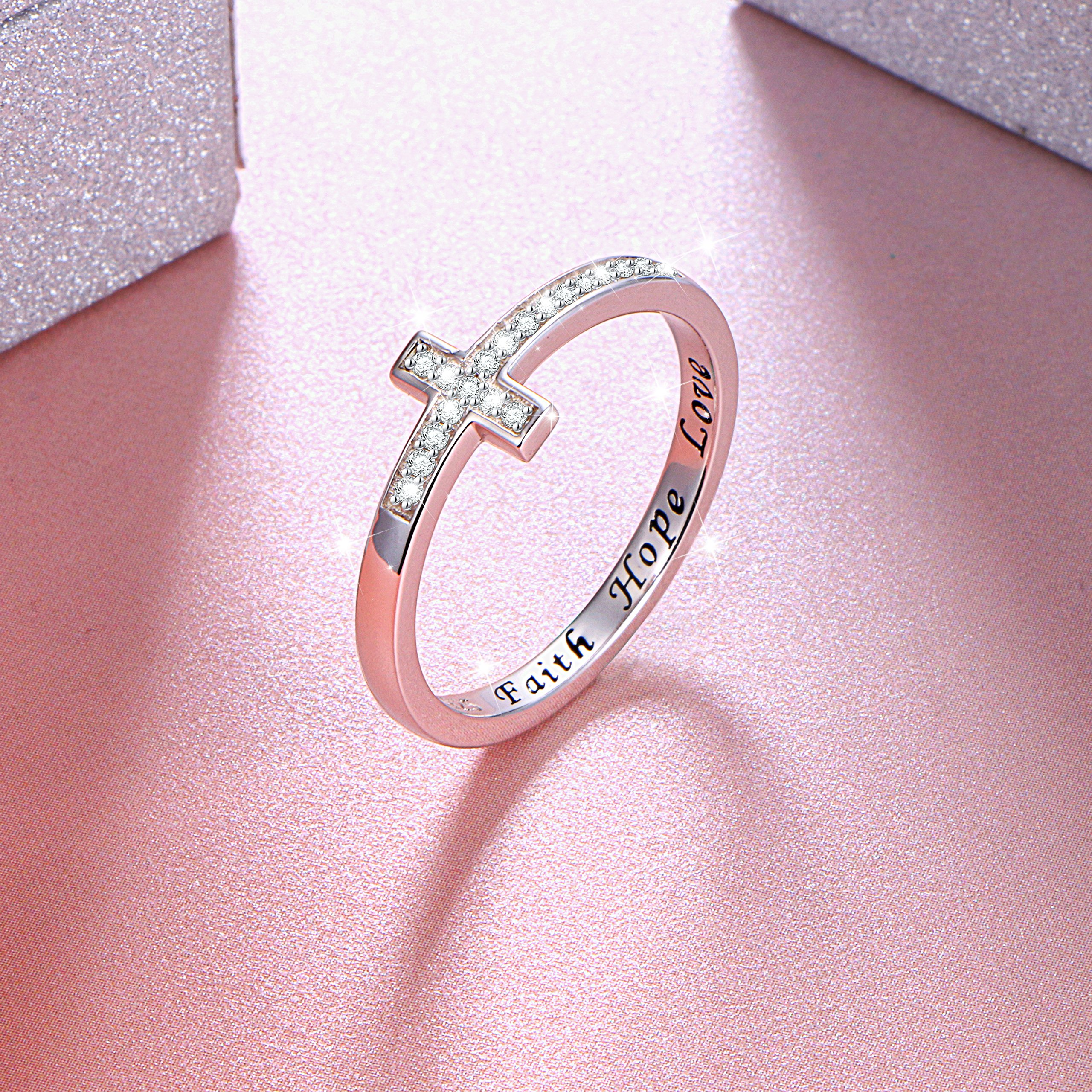 DAOCHONG Inspirational Jewelry Sterling Silver Engraved Faith Hope Love Sideway Cross Ring, Size 6 7 8 (8) by DAOCHONG (Image #3)