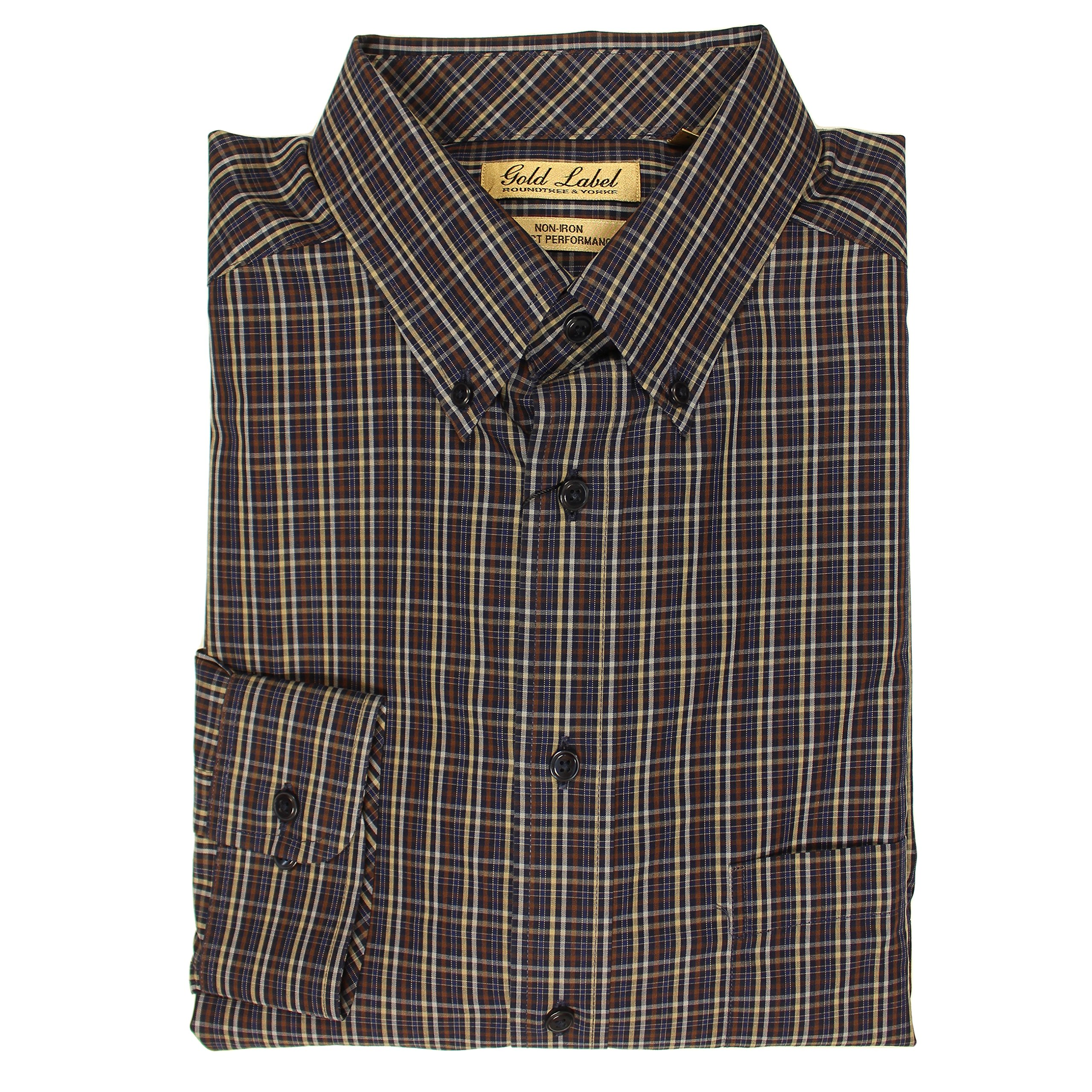 Roundtree & Yorke Gold Label Non-Iron Wrinkle Free Perfect Performance Mens Big & Tall Long Sleeve Shirt (Navy Blue/Brwn Fine Plaid, 2XT)