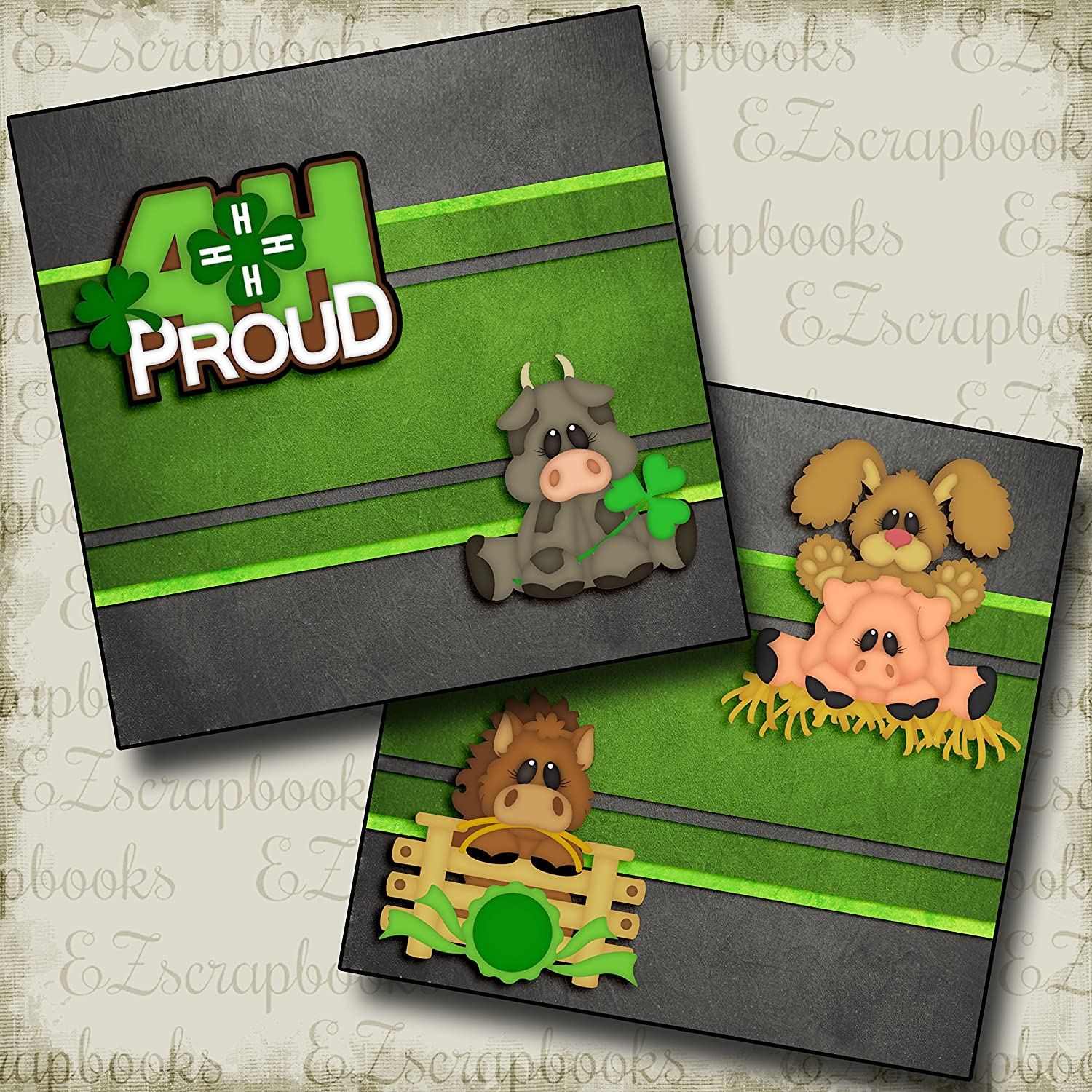 4H PROUD Non-Photo-Mat Premade Scrapbook Pages EZ Layout 2792
