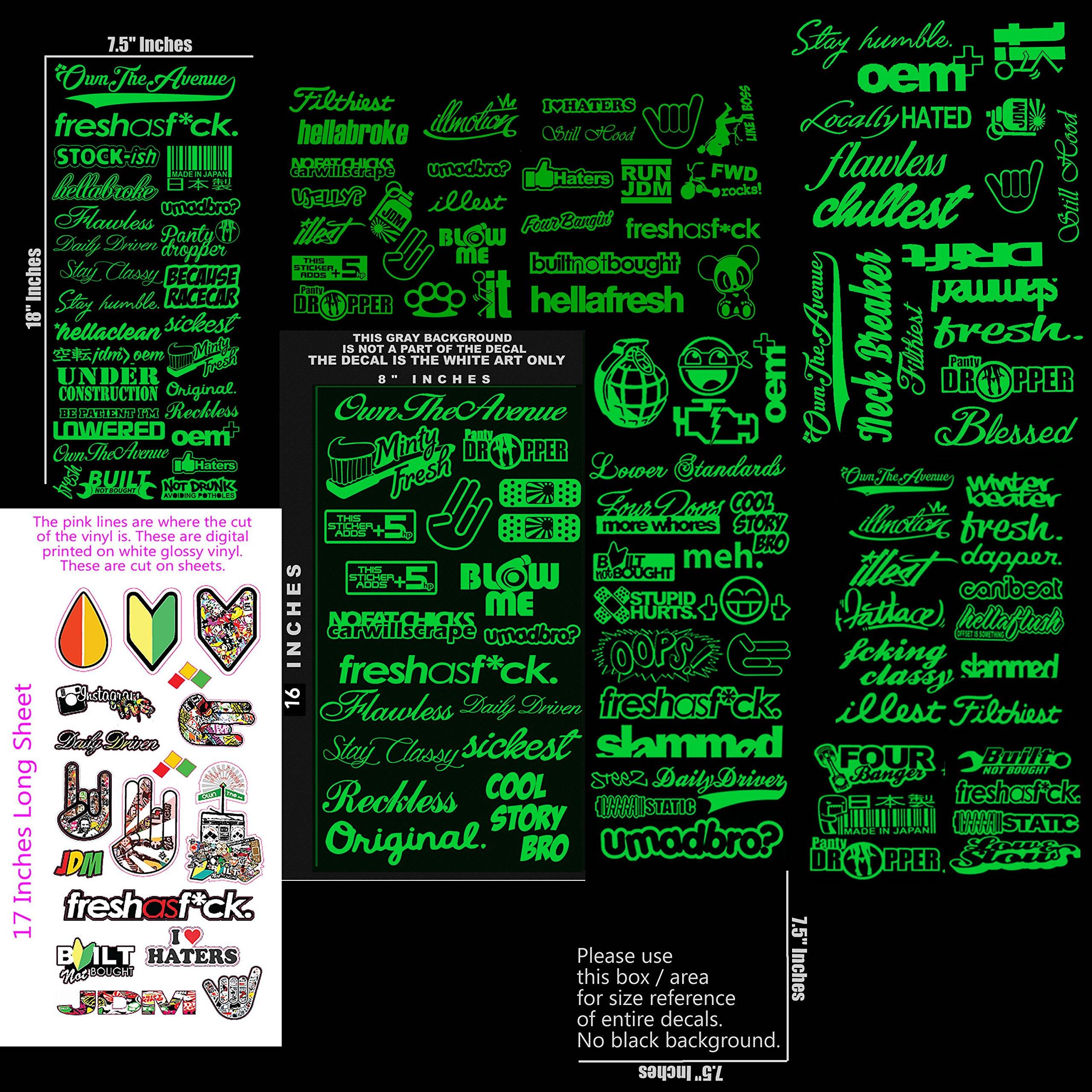 JDM Ultra Mega Bulk Wholesale Green Sticker Decal Pack/Lot of 144 Vinyl Decal Stickers Bombing Drift Race Low (Ultra144Green)