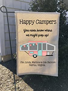 Burlap Garden Flag Happy Camper Flag Pop up Camper Flag Burlap Flag Camping Flag Camper Decor Campsite Flag Custom Flag 32x45cm.